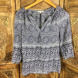 Artisan Ny 2/3 sleeves blue print top size S